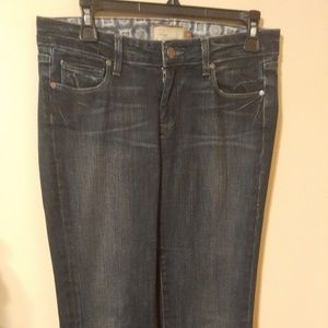 Paige Mid Rise Robertson Relaxed Wide Leg Jeans 30